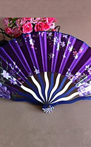 Floral Polypropylene Fiber Hand Fan - Set of 4 (Random Color)