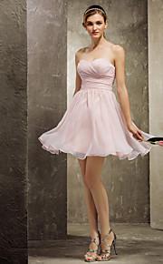Homecoming Short/Mini Chiffon Bridesmaid Dress - Pearl Pink Plus Sizes A-line Sweetheart