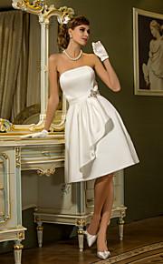 Lanting una línea más el tamaño de vestido de novia - la rodilla-longitud de satén color marfil