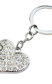Personalized Gift 4pcs Heart Shaped Engraver Keycahin with Rhinestone