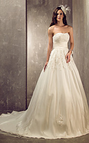 Lanting una línea / princesa de los tamaños más vestido de novia - Pista de marfil novia de tren de tul / satén