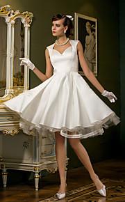 Lanting una línea pequeña / más tallas de vestido de boda - marfil hasta la rodilla Queen Anne raso / tul