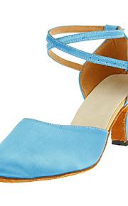 Chaussures de danse (Bleu) - Non personnalisable - Gros talon - Satin - Moderne