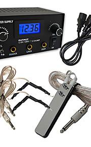 PRO Machine LCD Digital Tattoo Strømforsyning Clip Cord Foot Pedal