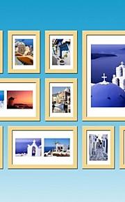 10のナチュラルウッドカラー写真入り壁掛けフレームコレクションセット