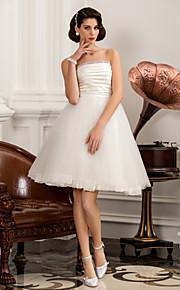 Lanting una línea / princesa tallas grandes del vestido de boda - marfil hasta la rodilla sin tirantes de raso / tul