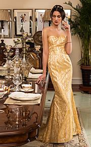 Vestido de Boda - Dorado (el Color y Estilo pueden variar según su monitor) Corte Sirena Barrida - Sweetheart Encaje