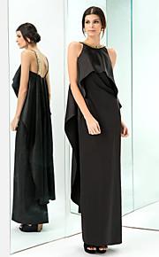 Formal Evening/Prom/Military Ball Dress - Black Sheath/Column Jewel Floor-length Stretch Satin