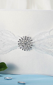 Wrap & Pocket Wedding Invitation With Lace Ribbon and Rhinestone - Set of 12