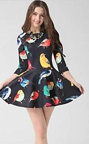 Damen Kleid - A-Linie Druck Mini Baumwoll-Mischung Rundhalsausschnitt