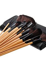 24PCS Birch Handle Makeup Brush Set with Black Leatherette Pouch