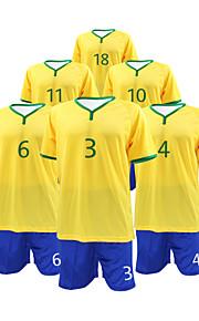 costume manches courtes de soccer masculin jaune et bleu