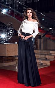 Formal Evening/Prom/Military Ball Dress - Multi-color Plus Sizes Sheath/Column Cowl Sweep/Brush Train Stretch Satin