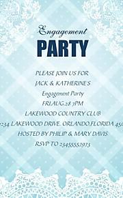 Personalized Aqua Blue Plaid Engagement Party Cards - Set of 12