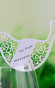 כרטיסי מקום ומחזיקי כרטיס ציפור לייזר לחתוך בצורת מקום לכוס יין - סט של 12