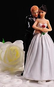 Decoración de Pasteles No personalizado Pareja Clásica Resina Matrimonio Flores Blanco / Negro Tema Floral / Tema Clásico Caja de regalo