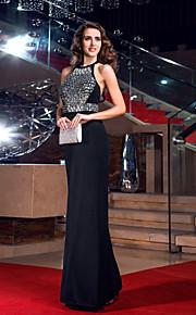 Homecoming Formal Evening/Prom/Military Ball Dress - Black Plus Sizes Sheath/Column Jewel Floor-length Jersey