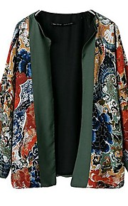 Women's National Wind Flower Printing Color Matching Coat