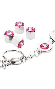 Roze Kroon patroon auto Wiel Luchtdicht Tyrus Band Dust Stelen Air Ventieldopjes met Spanner Keychain