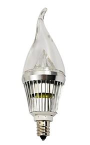 e14 / e12 4w tre høy effekt ledet 210-240 lm varm hvit / kul hvit dimmes ledet levende lys ac 220-240 v
