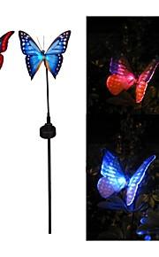 Lumière lampe de jardin extérieur Ensemble de 2 couleurs énergie solaire papillon Fibre optique RGB LED