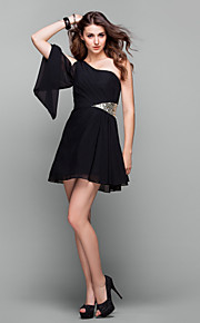 Cocktail Party / Prom / Holiday Dress - Plus Size / Petite A-line One Shoulder Short/Mini Chiffon
