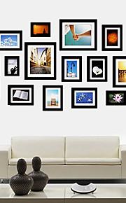 Colección del marco negro foto de la pared Juego de 15