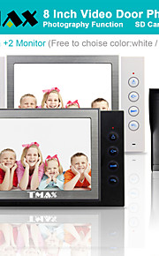 "tmax® 8 ""LCD-video dørtelefon SD-kort optagelse med 600TVL hd IR kamera (1camera til 2monitors)"