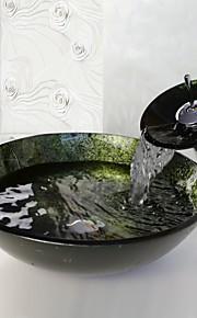 """Contemporaneo 420*130mm(16.5*5.1"""") Tondo Materiale del dissipatore è Vetro temperatoLavandino bagno / Rubinetto per bagno / Anello di"""
