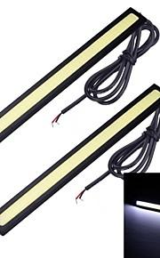 Merdia 2pcs 7W 1800LM 6000K COB luz blanca tira del coche luz / día LED (17 CM / 12 V)