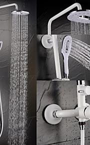 contemporanea pittura bianca finitura in ottone a tre fori manico unico rubinetto della doccia
