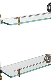 Contemporary Chrome Finish Glass Shelf With Rail