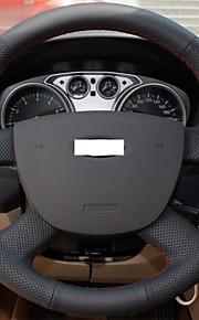 Xuji ™ zwart lederen stuurwiel cover voor ford focus 2 2005-2012