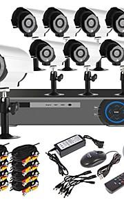 8-kanaals 960H woningbeveiligingssysteem DVR-kit (8 stuks 700TVL IR Cut waterdichte camera's voor buiten, HDMI, USB, 3G/wifi)