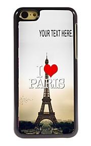 gepersonaliseerd geval ik houd van Parijs Eiffeltoren ontwerp metalen behuizing voor de iPhone 5c