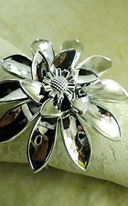 실버, 아크릴 beades, 세로 4.5cm에 손을 꽃 냅킨 링, 12 세트
