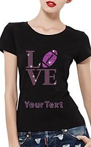 gepersonaliseerde strass t-shirts liefde voetbal patroon katoen vrouwen korte mouwen