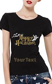 パーソナライズされたラインストーンTシャツハッピーハロウィンゴーストパターンの女性の綿半袖