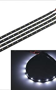 carking ™ 3528-15smd-30cm waterdichte auto decoratieve lamp strip-zwart (4 stuks)