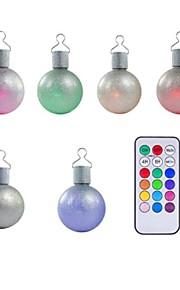 ensemble de 6 LED de couleur multiples télécommande arbre de noël babioles boules