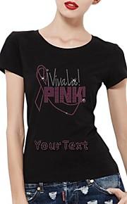 personlig rhinestone t-tröjor viva la rosa mönster kvinnors bomull korta ärmar