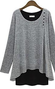 kleur blauw blok / grijs t-shirt van vrouwen, casual ronde hals met lange mouwen gelaagde