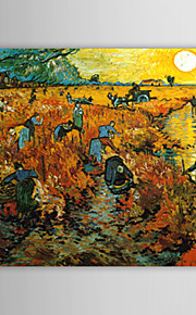 Hand-painted The Red Vineyard at Arles,c.1888 Oil Painting by Vincent Van Gogh  with Stretched Frame