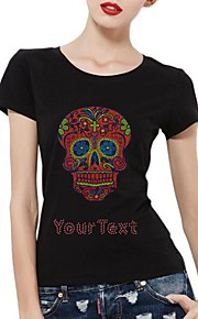 Personalized Rhinestone T-shirts Red Skull Pattern Women's Cotton Short Sleeves