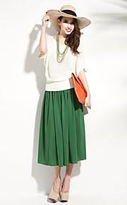 joannekitten® Frauenreich zweireihiger elastische Taille drapiert Midirock