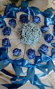 boîte blanche faveur gâteau avec du bleu rose et arc (jeu de 10)