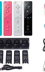4 x batteri& oplader station dock + fjernbetjening og Nunchuk til Nintendo Wii