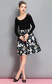 Women's Vintage/Print/Party Above Knee Skirts , Polyester Micro-elastic