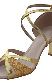 Non Customizable Women's Dance Shoes Ballroom/Latin/Salsa Leatherette/Paillette Stiletto Heel Gold/Black/Silver