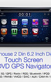 """navihouse 6.2 """"2 DIN bil DVD-afspiller med gps, ipod, SWC, bt, cam i, vildt"""